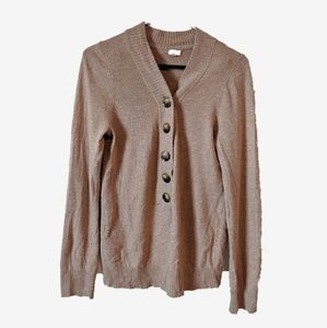 J. Crew | Coffee Wool & Cashmere Button Sweater